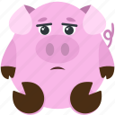 animal, dissapointed, emoji, emoticon, emotion, pig
