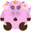 animal, dizzy, emoji, emoticon, emotion, pig
