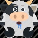 animal, cow, dribble, emoji, emoticon, emotion