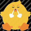 animal, chick, emoji, emoticon, emotion, frustrated icon