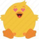 animal, chick, emoji, emoticon, emotion, eyes, heart icon