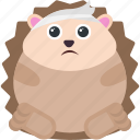 animal, emoji, emoticon, emotion, hedgehog, injured