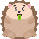animal, emoji, emoticon, emotion, hedgehog, money icon