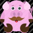 animal, emoji, emoticon, emotion, moustache, pig