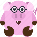 animal, emoji, emoticon, emotion, nerd, pig icon