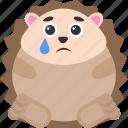 animal, emoji, emoticon, emotion, hedgehog, sad
