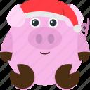 animal, emoji, emoticon, emotion, hat, pig