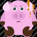 angry, animal, emoji, emoticon, emotion, pig, serious icon