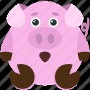 animal, emoji, emoticon, emotion, pig, shocked