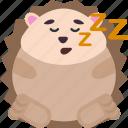 animal, emoji, emoticon, emotion, hedgehog, sleep
