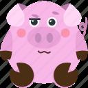 animal, emoji, emoticon, emotion, pig, woozy icon
