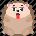 animal, emoji, emoticon, emotion, hedgehog, out, worn