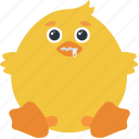 animal, chick, emoji, emoticon, emotion, shut, zipped icon