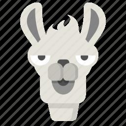 animal, bored, emoji, expression, face, llama, unimpressed icon