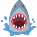 attack, breach, danger, ocean, shark, warning, wildlife icon
