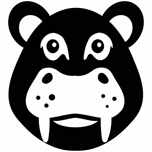 animal, animal face, hippo, hippo face, hippopotamus icon