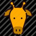 animal, cartoon, fauna, giraffe, head, herbivore, zoo icon