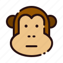 animal, ape, cartoon, fauna, herbivore, monkey, zoo icon