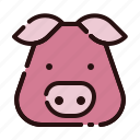 animal, cartoon, fauna, herbivore, pig, pork, zoo icon