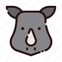animal, cartoon, fauna, herbivore, rhino, rhinoceros, zoo icon