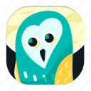 animal, app, bird, noctunal, owl, pet, wildlife icon