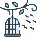 birds, birdcage, relinquish, liberty, freedom, cage, birds outside of cage icon