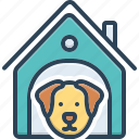 adorable, animal, cheerful, dog, dog home, dog in kennel, kennel icon
