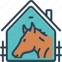 equestrian, farmyard, horse, horse in stable, racing, sport, stable icon