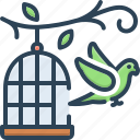 birdcage, cage, freedom, liberty, parrot, parrot outside of cage, relinquish icon