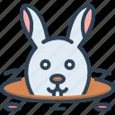 animal, bunny, burrow, hide, hole, rabbit, rabbit in burrow icon