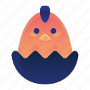 animal, chick, egg, farm, hatched icon