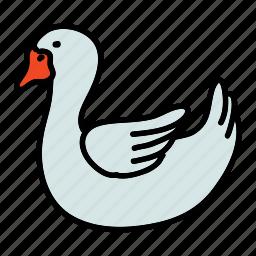 animals, bird, goose, lake, river, swan icon