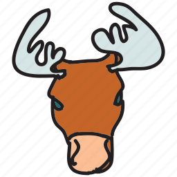 animal, animals, forest, lake, moose, mountain icon