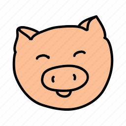 animals, cute, farm, mud, pig, smile icon