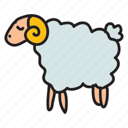 animals, farm, field, herd, horns, sheep icon