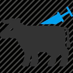 agriculture, animal treatment, bull, cow, medicine, vet clinic, veterinary icon