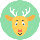 animal, deer, elk, reindeer, reindeer head icon