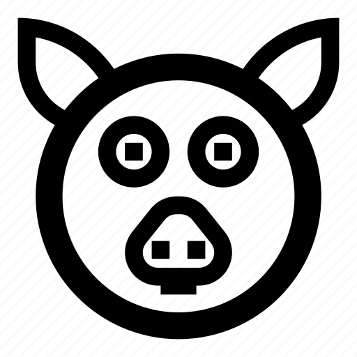 animal, animals, emotion, expression, face, pig, zoo icon