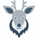 elk, reindeer, deer, animal, reindeer head icon