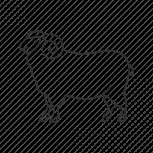 farm, goat, livestock, mammal, meat, ram, sheep icon