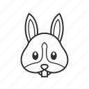 bunny, bunny head, emoji, face, head, rabbit, rabbit face icon