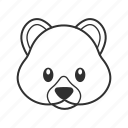 animal, bear, bear's head, cute bear, mammal, teddy, teddy bear icon