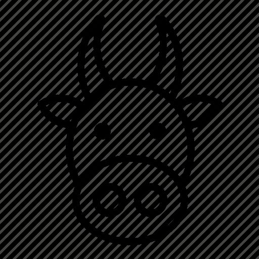 animal, animals, cow, face, farm, india icon