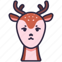 animal, wildlife, deer, horn, creature, character icon