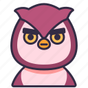 bird, owl, pet, animal, wildlife, character icon