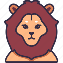 lion, animal, wildlife, creature, character, avatar icon