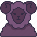 sheep, horn, animal, farm, pet, character, avatar icon
