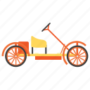 cycle car, cyclekart, manual car, steering cycle, vintage transport icon