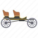 horse car, horse driven, vintage transport, wagonette, wagonette cart icon