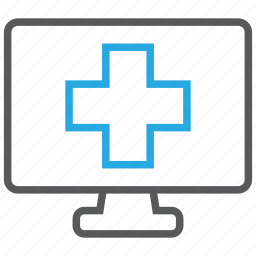 computer, doctor, health, medical, monitor, pc icon